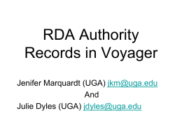 RDA Authority Records in Voyager