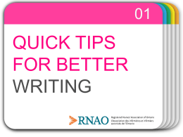 Quick Tips for Better Writing