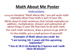 Math About Me Poster - Alliance Christine O`Donovan Middle