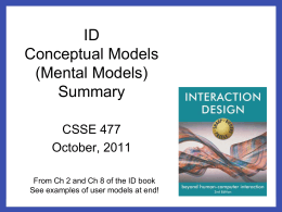 ID Conceptual Models (Mental Models) Summary - Rose