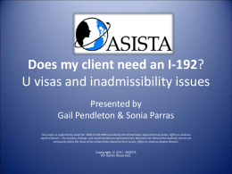 Does my client need an I-192? U visas and inadmissibility