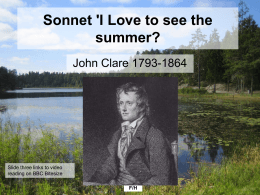 Sonnet `I Love to see the summer?`