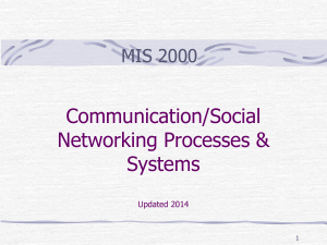 Communication/Social Networking Processes and Systems