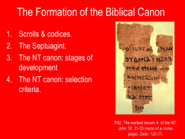Formation of the Biblical Canon