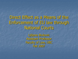 Direct Effect as a Means of the Enforcement of EU law through