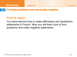 2A.2 Forming questions and expressing negation