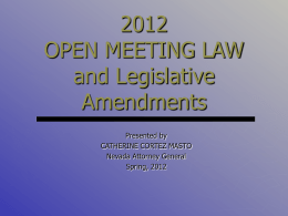Open Meeting Law & Closed Sessions