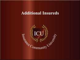 Additional Insureds - Insurance Community University