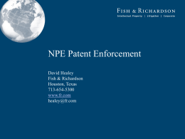 NPE PATENT ENFORCEMENT