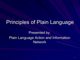 Why use plain language?