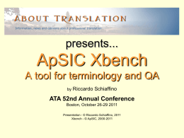 ApSIC Xbench A tool for terminology and QA
