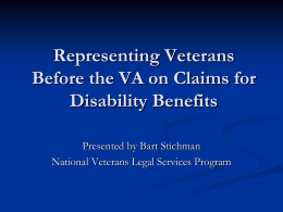 Veterans Benefits Training PPT for EJW_final
