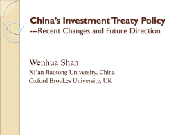 China`s Investment Treaty Policy
