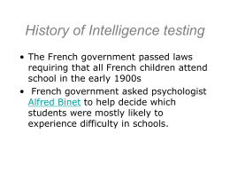 History of Intelligence testing