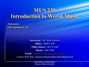 Introduction to World Music MUS 239