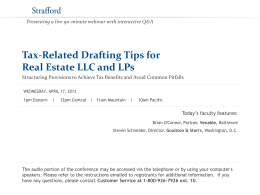 Tax-Related Drafting Tips for Real Estate LLC