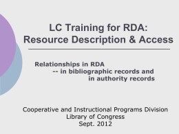 Module 4: Relationships in RDA