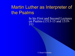 Martin Luther as Interpreter of the Psalms