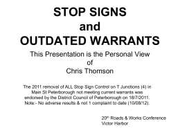 stop signs & outdated warrants - Local Government Association of