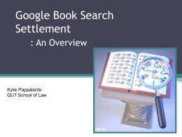 Google book search settlement_Kylie Pappalardo