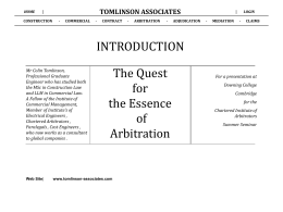 tomlinson associates - The Chartered Institute of Arbitrators, East