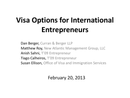 The E-2 Visa and Foreign Franchisees