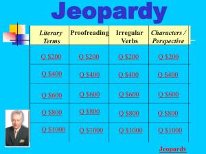 VERB JEOPARDY! - Glen Ellyn School District 41