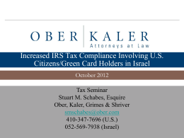 Increased IRS Tax Compliance Involving U.S. Citizens