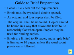Guide to Brief Preparation - Ninth District Court of Appeals