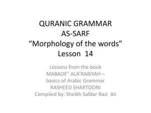 "QURANIC GRAMMAR AS-SARF ""Morphology of the words"" Lesson 1"