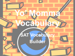 Yo` Momma Vocabulary
