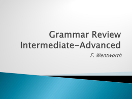 Grammar Review Intermediate