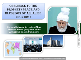 Obedience to The Prophet (peace and blessings of Allah be upon him)