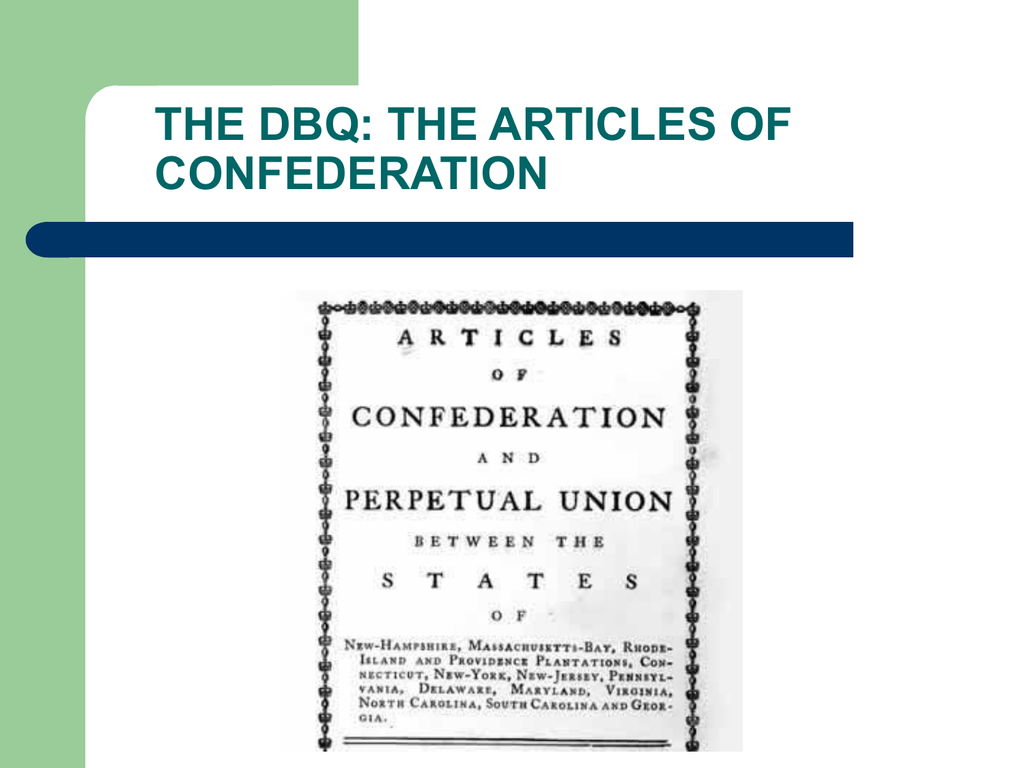 the dbq the articles of confederation