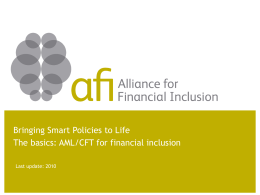 AML-CFT basics - Alliance for Financial Inclusion