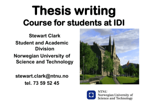 Thesis writing Course for students at IDI