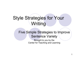 Style Strategies for Your Writing