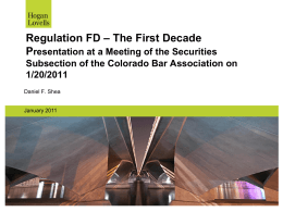 Regulation FD - Colorado Bar Association