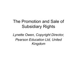 Payment to Authors, Permissions Costs and Subsidiary Rights