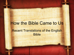 Lesson 14 - Recent Translation of the English Bible