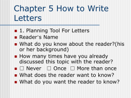 Chapter 7 Letter Formats