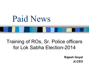Paid News - Chief Electoral Officer, Delhi
