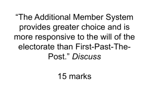 AMS v FPTP responsive to the will of the people and choice