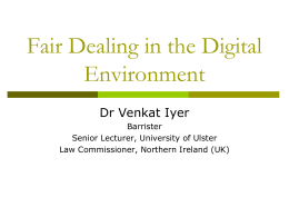 Fair Dealing in the Digital Environment
