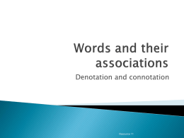 Resource 11 Words and their associations