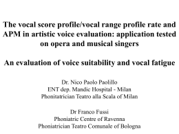 The vocal score profile/vocal range profile rate and APM in artistic