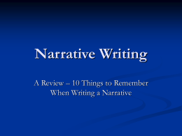 Narrative Writing - Bookunitsteacher.com