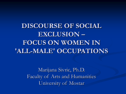 discourse of social exclusion – focus on women in `all