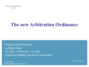 The new Arbitration Ordinance - The Chartered Institute of
