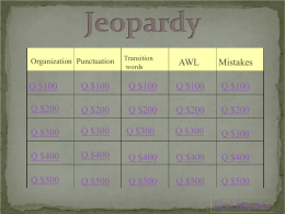 Writing Course Review Jeopardy